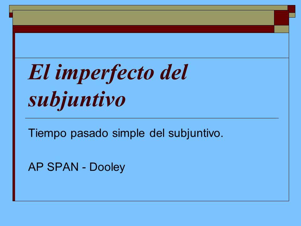 El imperfecto del subjuntivo Tiempo pasado simple del subjuntivo. AP SPAN - Dooley