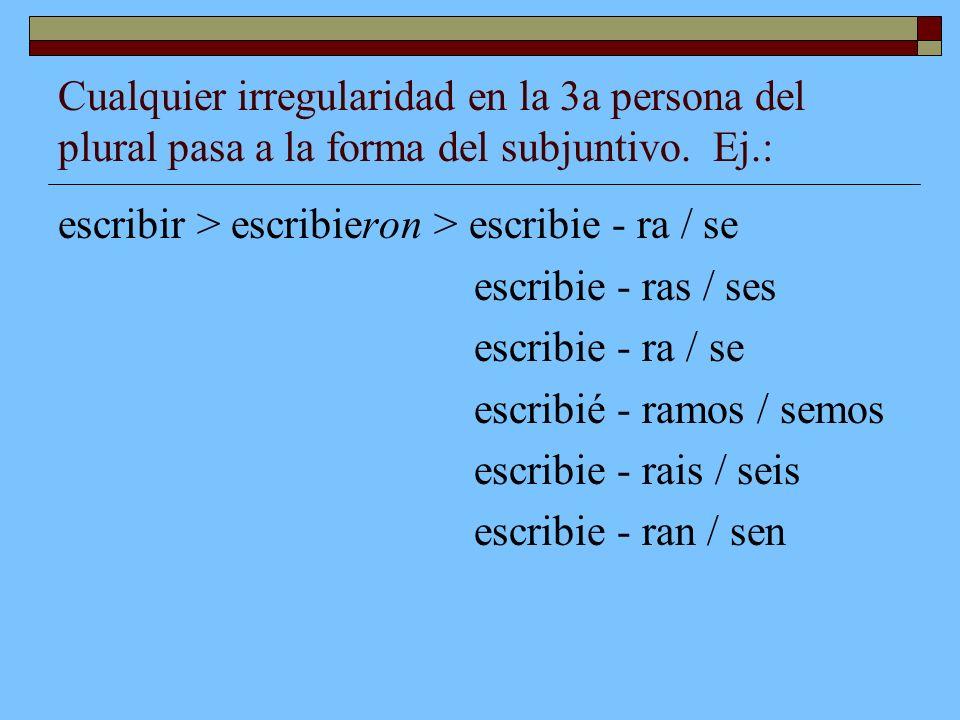 Cualquier irregularidad en la 3a persona del plural pasa a la forma del subjuntivo. Ej.: escribir > escribieron > escribie - ra / se escribie - ras /