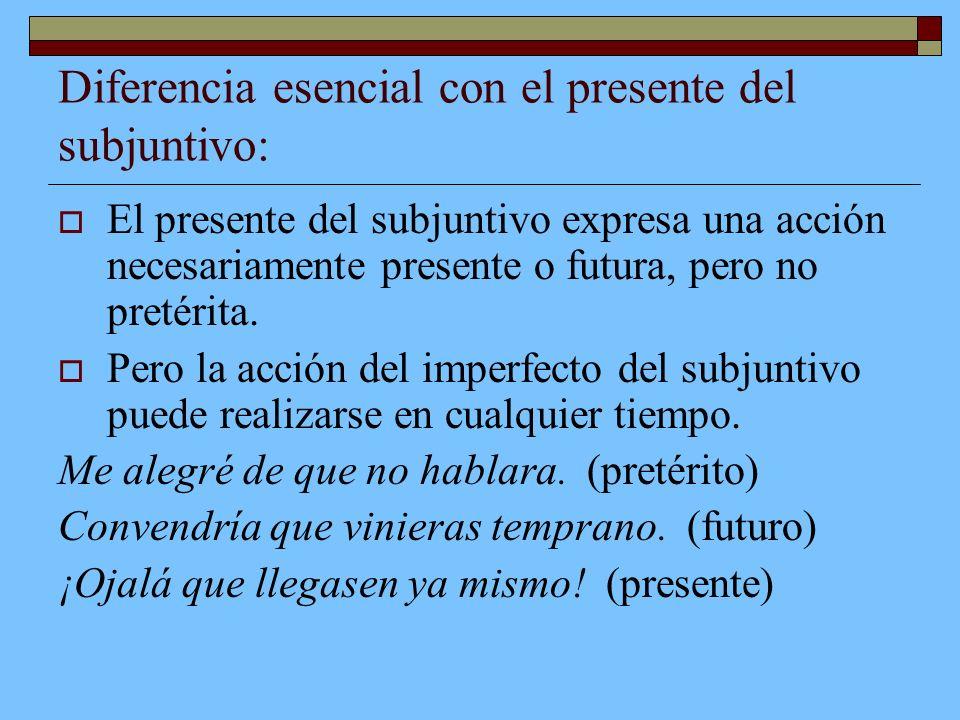 Diferencia esencial con el presente del subjuntivo: El presente del subjuntivo expresa una acción necesariamente presente o futura, pero no pretérita.