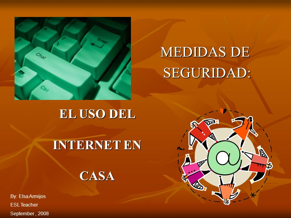 MEDIDAS DE SEGURIDAD: SEGURIDAD: EL USO DEL INTERNET EN CASA By: Elsa Armijos ESL Teacher September, 2008