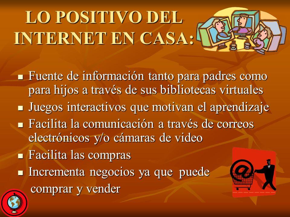 LO POSITIVO DEL INTERNET EN CASA: Fuente de información tanto para padres como para hijos a través de sus bibliotecas virtuales Fuente de información