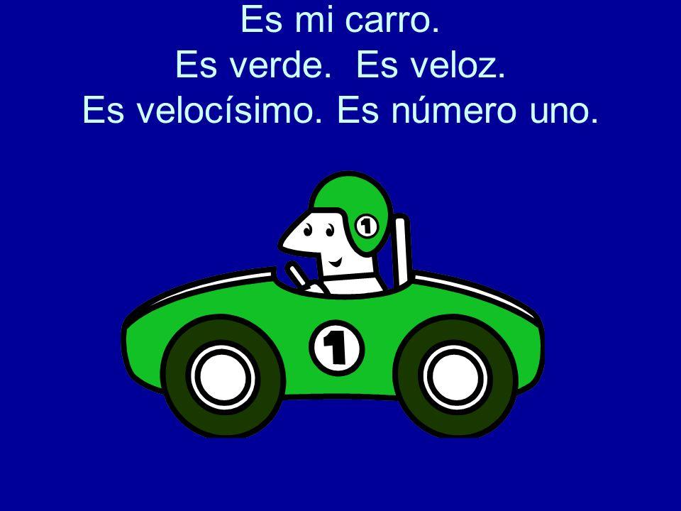 Es mi carro. Es verde. Es veloz. Es velocísimo. Es número uno.