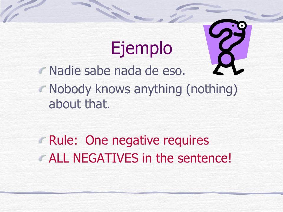 Negative Words Nadie nobody, no one Nada nothing