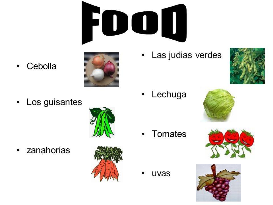 Cebolla Los guisantes zanahorias Las judias verdes Lechuga Tomates uvas