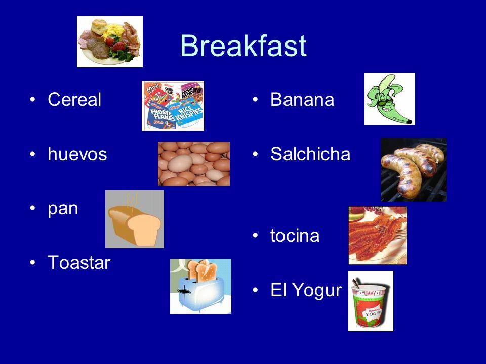 Breakfast Cereal huevos pan Toastar Banana Salchicha tocina El Yogur