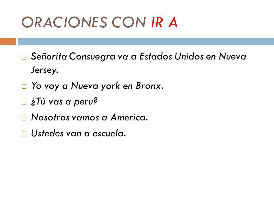 ORACIONES CON IR A Señorita Consuegra va a Estados Unidos en Nueva Jersey.