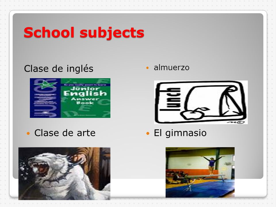 School subjects Clase de inglés almuerzo Clase de arte El gimnasio