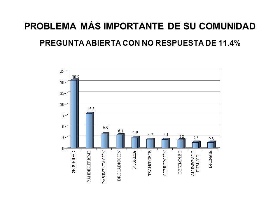 PROBLEMA MÁS IMPORTANTE DE SU COMUNIDAD PREGUNTA ABIERTA CON NO RESPUESTA DE 11.4%