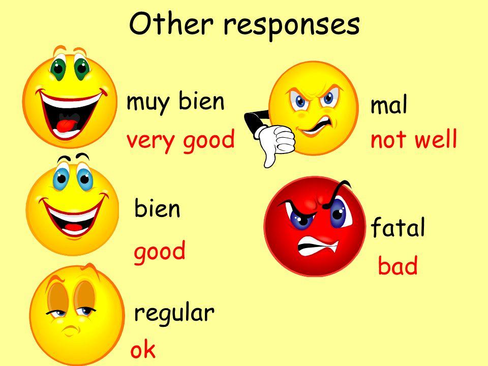 Other responses muy bien bien regular mal fatal very good good ok not well bad