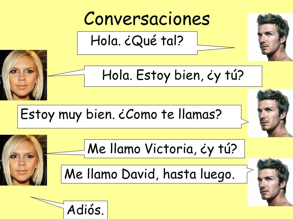 Conversaciones Hola. ¿Qué tal. Hola. Estoy bien, ¿y tú.