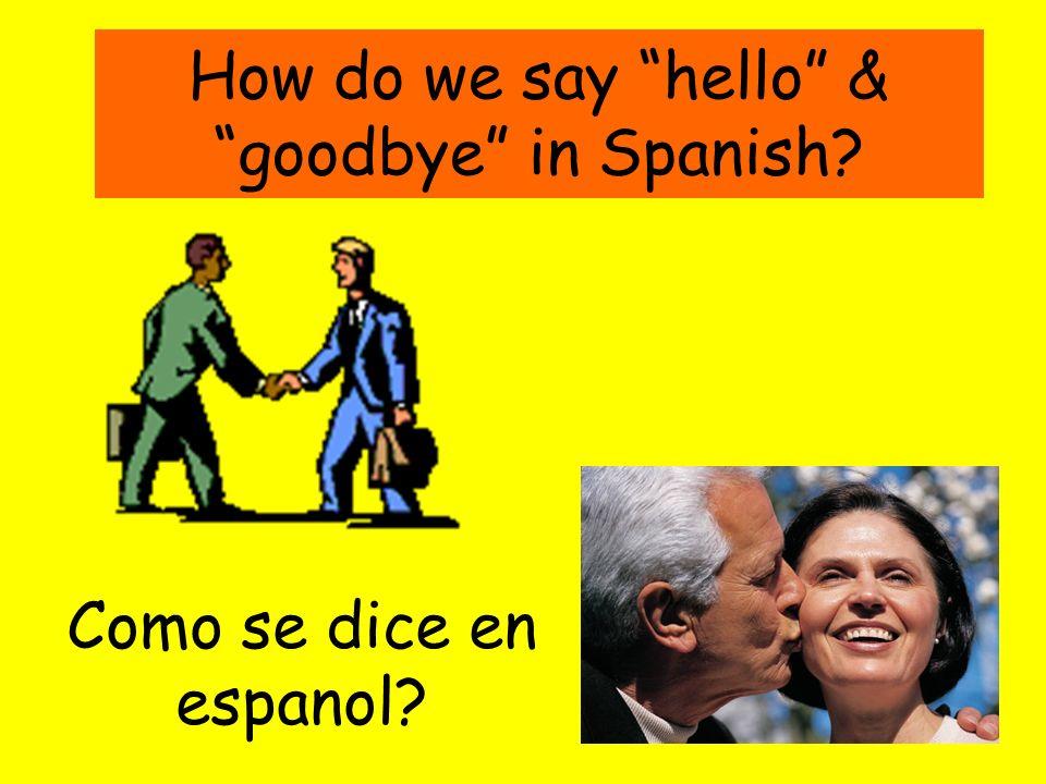 Hola.Buenos días Buenas tardes Buenas noches English people shake hands when they meet friends.
