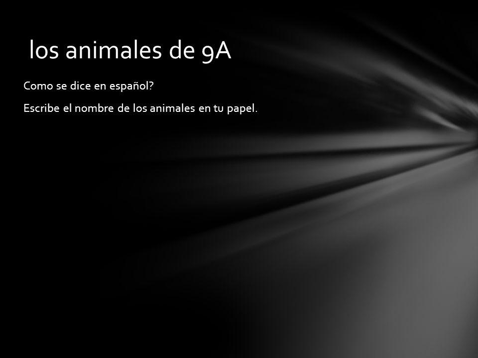 Como se dice en español? Escribe el nombre de los animales en tu papel. los animales de 9A