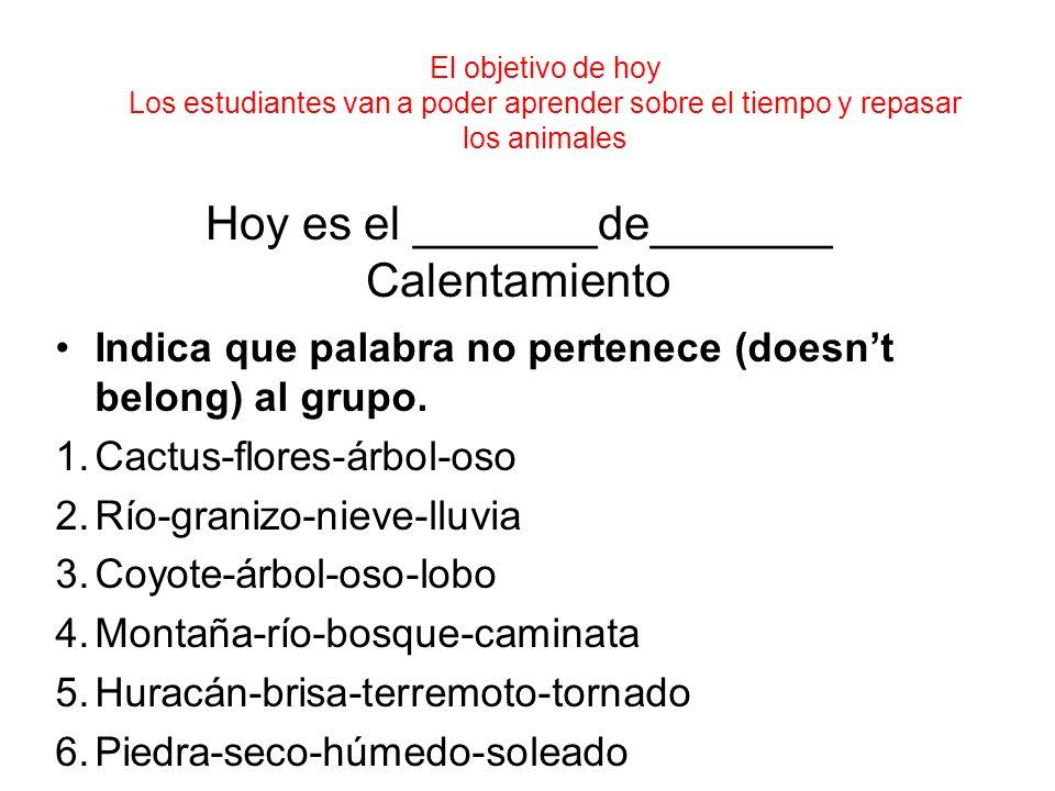 Hoy es el _______de_______ Calentamiento Indica que palabra no pertenece (doesnt belong) al grupo. 1.Cactus-flores-árbol-oso 2.Río-granizo-nieve-lluvi