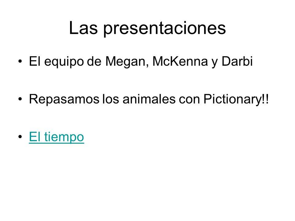 Las presentaciones El equipo de Megan, McKenna y Darbi Repasamos los animales con Pictionary!! El tiempo
