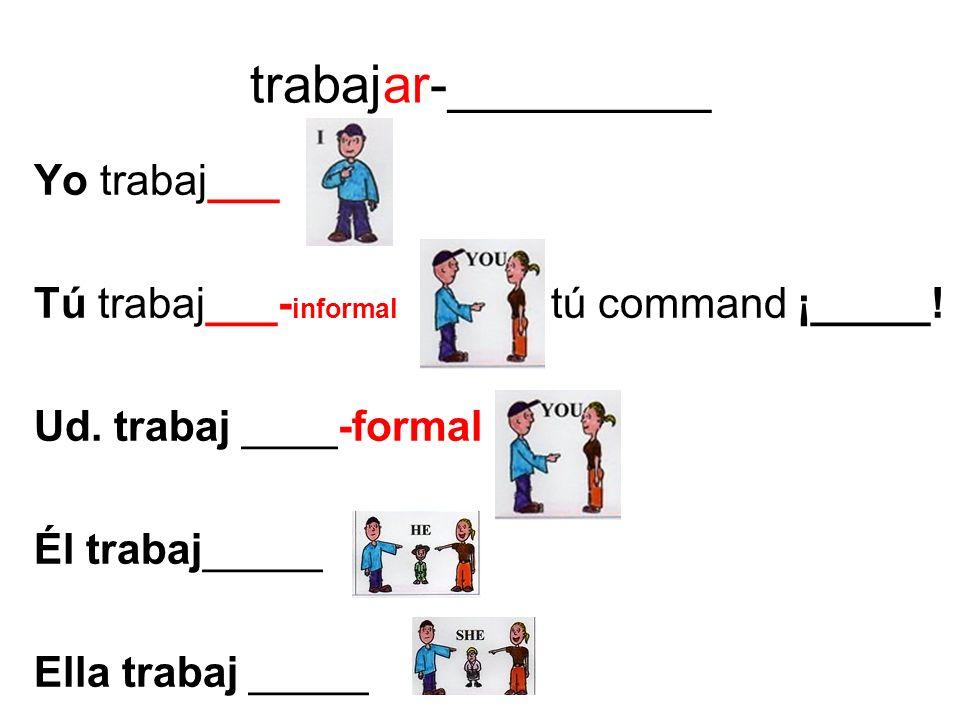 trabajar-_________ Yo trabaj___ Tú trabaj___- informal tú command ¡_____! Ud. trabaj ____-formal Él trabaj_____ Ella trabaj _____