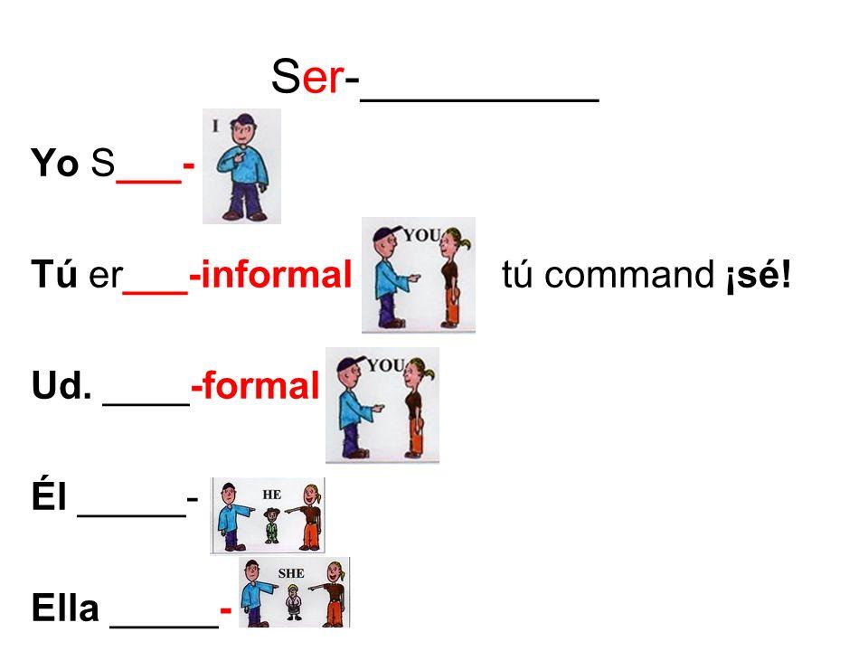 Ser-_________ Yo S___- Tú er___-informal tú command ¡sé! Ud. ____-formal Él _____- Ella _____-