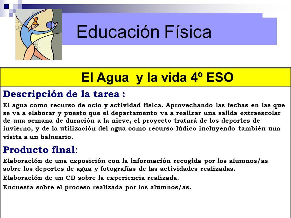 Educación Física El Agua y la vida 4º ESO Descripción de la tarea : El agua como recurso de ocio y actividad física. Aprovechando las fechas en las qu
