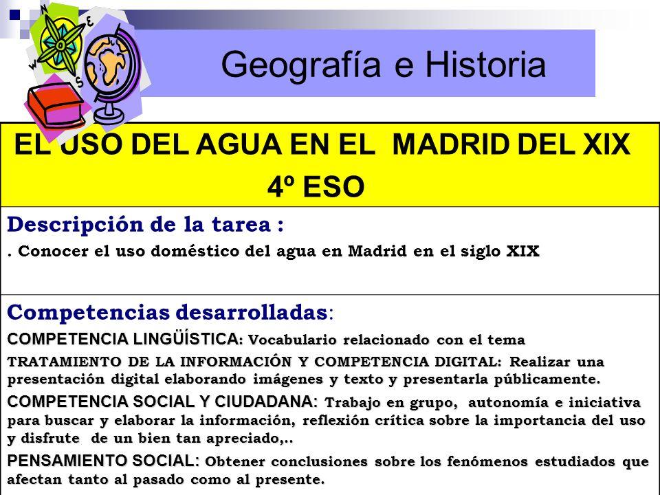 Geografía e Historia EL USO DEL AGUA EN EL MADRID DEL XIX 4º ESO Descripción de la tarea :. Conocer el uso doméstico del agua en Madrid en el siglo XI