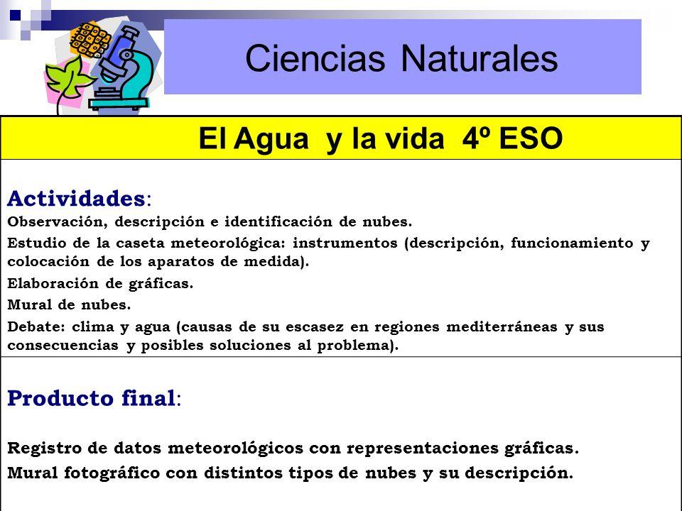 El Agua y la vida 4º ESO Actividades : Observación, descripción e identificación de nubes. Estudio de la caseta meteorológica: instrumentos (descripci