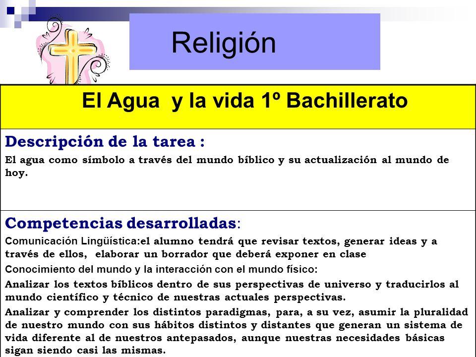 Religión El Agua y la vida 1º Bachillerato Descripción de la tarea : El agua como símbolo a través del mundo bíblico y su actualización al mundo de ho