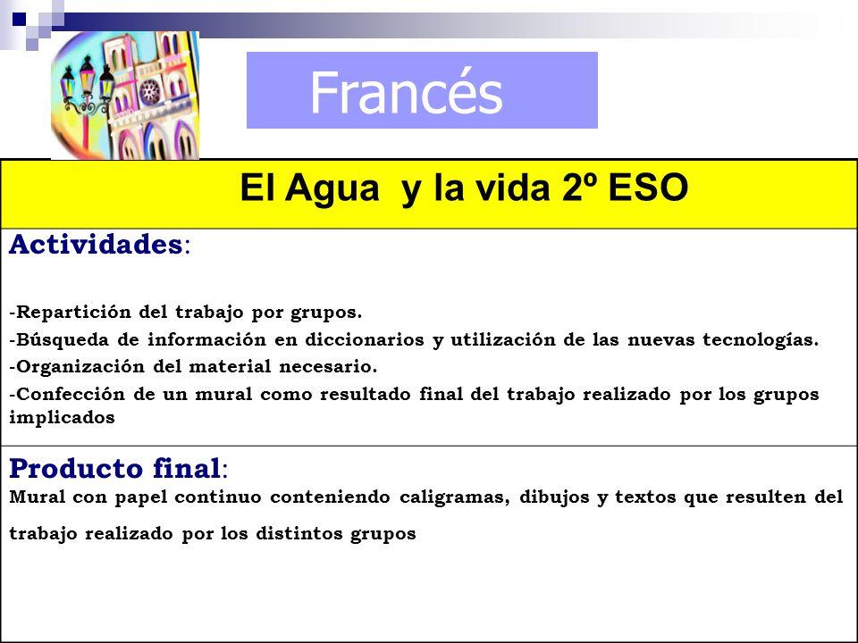 Francés El Agua y la vida 2º ESO Actividades : -Repartición del trabajo por grupos. -Búsqueda de información en diccionarios y utilización de las nuev