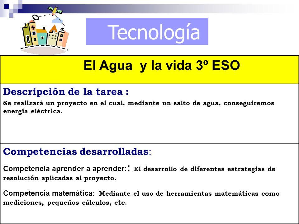 Tecnología El Agua y la vida 3º ESO Descripción de la tarea : Se realizará un proyecto en el cual, mediante un salto de agua, conseguiremos energía el