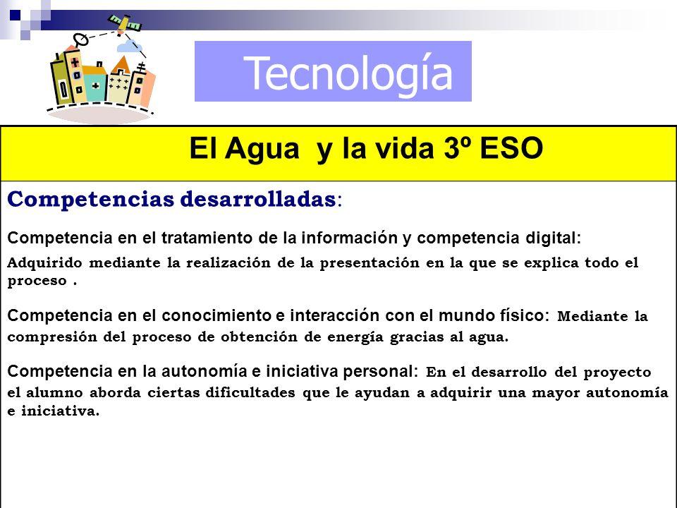 Tecnología El Agua y la vida 3º ESO Competencias desarrolladas : Competencia en el tratamiento de la información y competencia digital: Adquirido medi