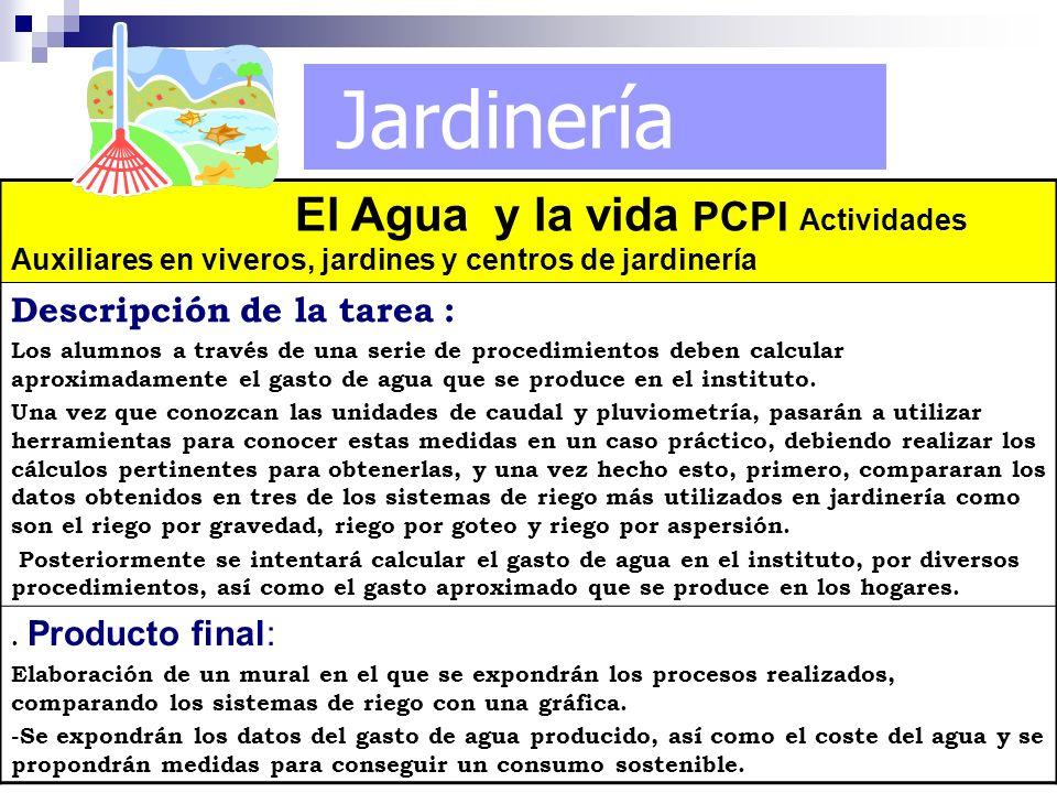 Jardinería El Agua y la vida PCPI Actividades Auxiliares en viveros, jardines y centros de jardinería Descripción de la tarea : Los alumnos a través d