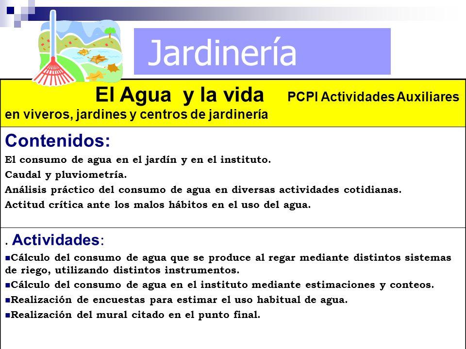 Jardinería El Agua y la vida PCPI Actividades Auxiliares en viveros, jardines y centros de jardinería Contenidos: El consumo de agua en el jardín y en
