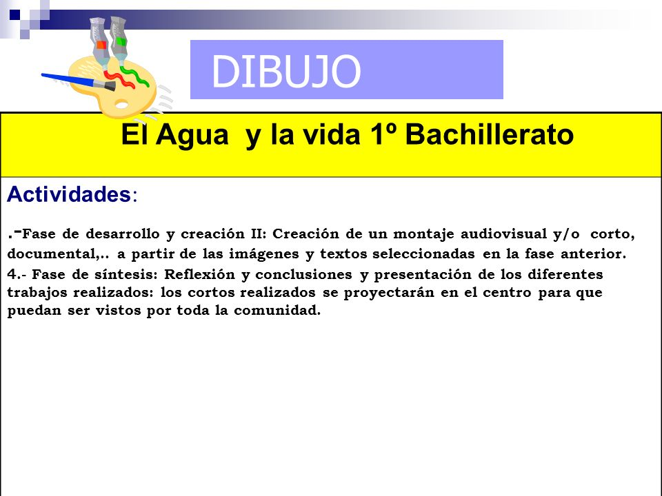 DIBUJO El Agua y la vida 1º Bachillerato Actividades :.- Fase de desarrollo y creación II: Creación de un montaje audiovisual y/o corto, documental,..