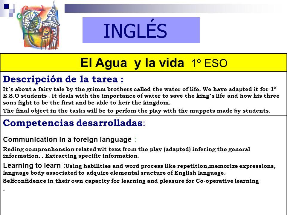 INGLÉS El Agua y la vida 1º ESO Descripción de la tarea : It´s about a fairy tale by the grimm brothers called the water of life. We have adapted it f