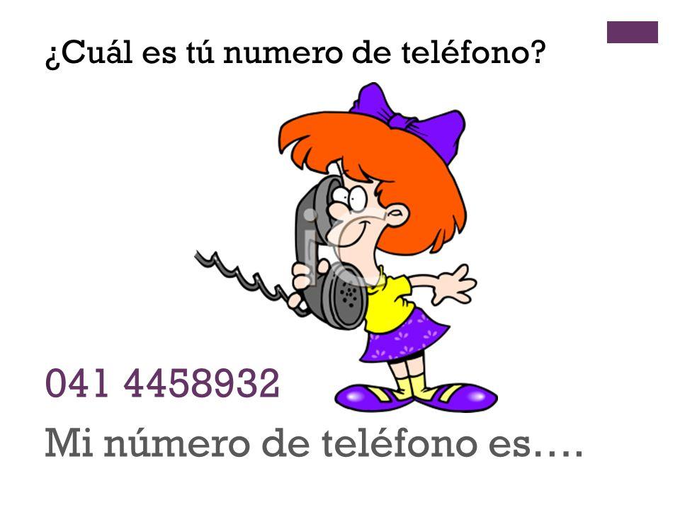 + 041 4458932 Mi número de teléfono es…. ¿Cuál es tú numero de teléfono?
