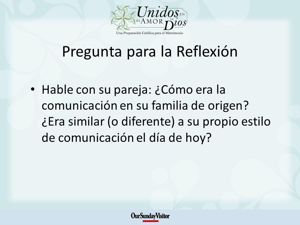 Pregunta para la Reflexión Hable con su pareja: ¿Cómo era la comunicación en su familia de origen.