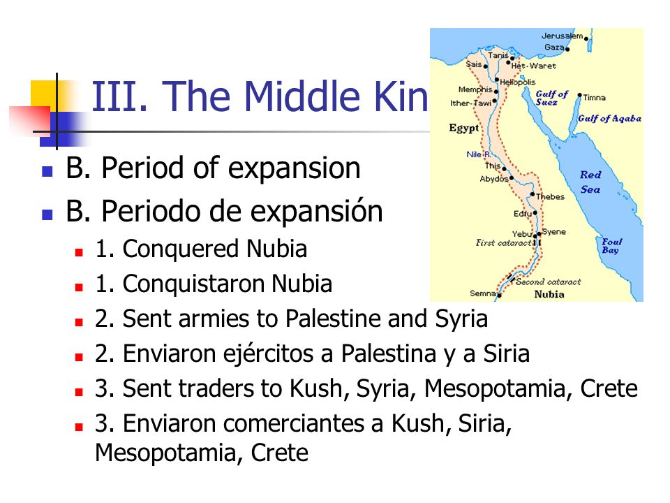 III. The Middle Kingdom B. Period of expansion B. Periodo de expansión 1. Conquered Nubia 1. Conquistaron Nubia 2. Sent armies to Palestine and Syria
