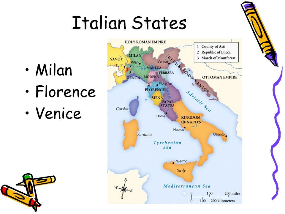 Italian States - Florence Florence began to experience an economic decline; people tired of the Medicis Florencia comenzó a experimentar una declinación económica; la gente se cansó del Medicis