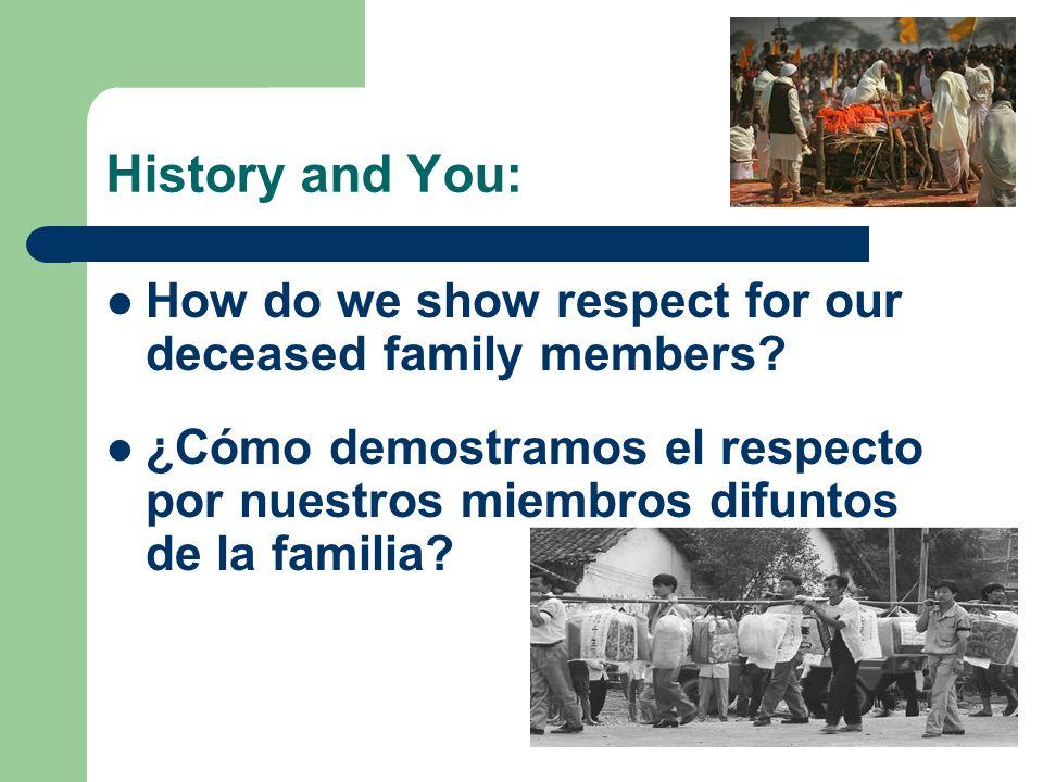 History and You: How do we show respect for our deceased family members? ¿Cómo demostramos el respecto por nuestros miembros difuntos de la familia?