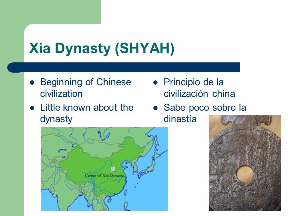 Xia Dynasty (SHYAH) Beginning of Chinese civilization Little known about the dynasty Principio de la civilización china Sabe poco sobre la dinastía