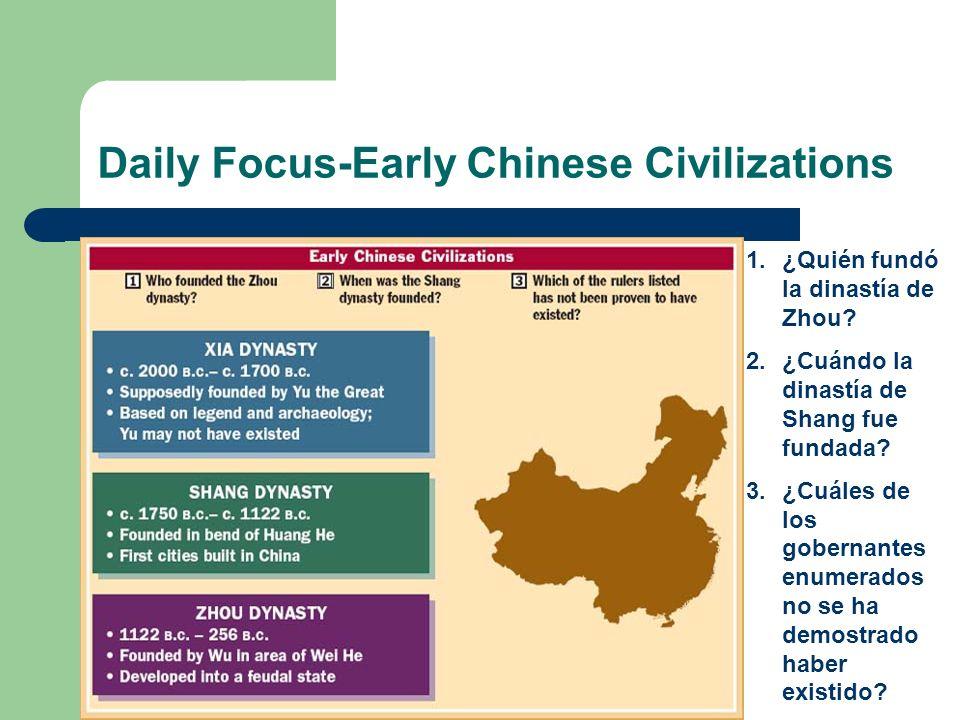 Daily Focus-Early Chinese Civilizations 1.¿Quién fundó la dinastía de Zhou? 2.¿Cuándo la dinastía de Shang fue fundada? 3.¿Cuáles de los gobernantes e