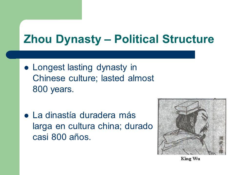 Zhou Dynasty – Political Structure Longest lasting dynasty in Chinese culture; lasted almost 800 years. La dinastía duradera más larga en cultura chin