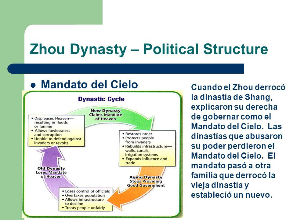 Zhou Dynasty – Political Structure Mandato del Cielo Cuando el Zhou derrocó la dinastía de Shang, explicaron su derecha de gobernar como el Mandato de