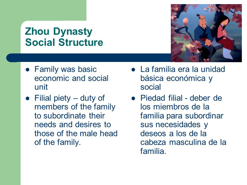 Zhou Dynasty Social Structure Family was basic economic and social unit Filial piety – duty of members of the family to subordinate their needs and de