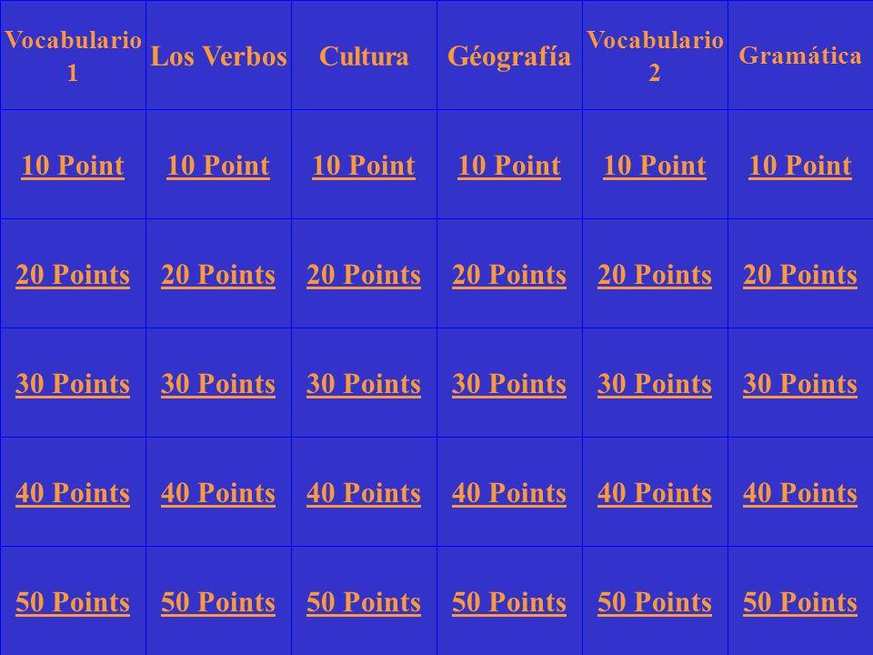 Vocabulario 1 Los VerbosGéografía Vocabulario 2 Gramática 10 Point 20 Points 30 Points 40 Points 50 Points 10 Point 20 Points 30 Points 40 Points 50 Points 30 Points 40 Points 50 Points Cultura