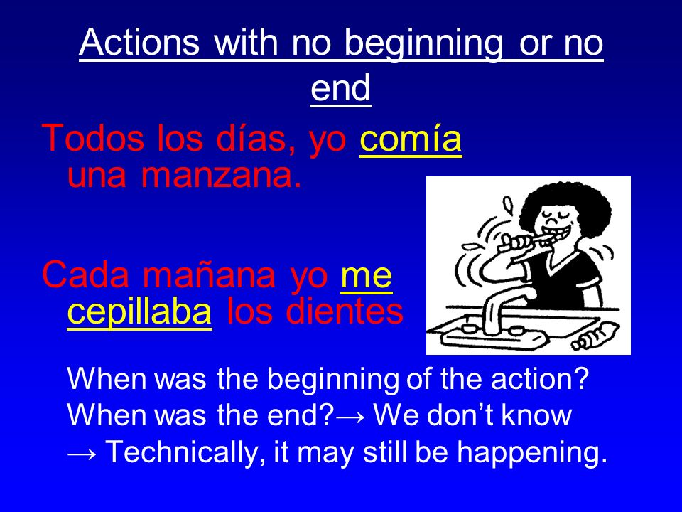 Actions with no beginning or no end Todos los días, yo comía una manzana.