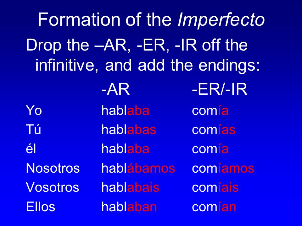 Formation of the Imperfecto Drop the –AR, -ER, -IR off the infinitive, and add the endings: -AR-ER/-IR Yo hablabacomía Tú hablabascomías élhablabacomía Nosotros hablábamoscomíamos Vosotros hablabaiscomíais Ellos hablabancomían