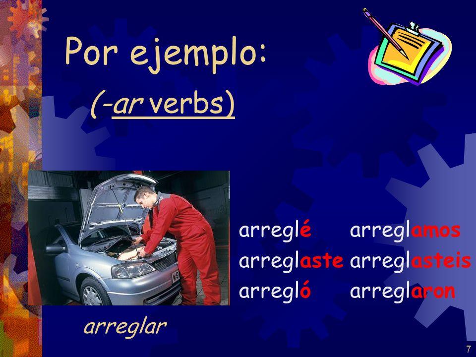 7 (-ar verbs) arreglé arreglaste arregló arreglamos arreglasteis arreglaron Por ejemplo: arreglar