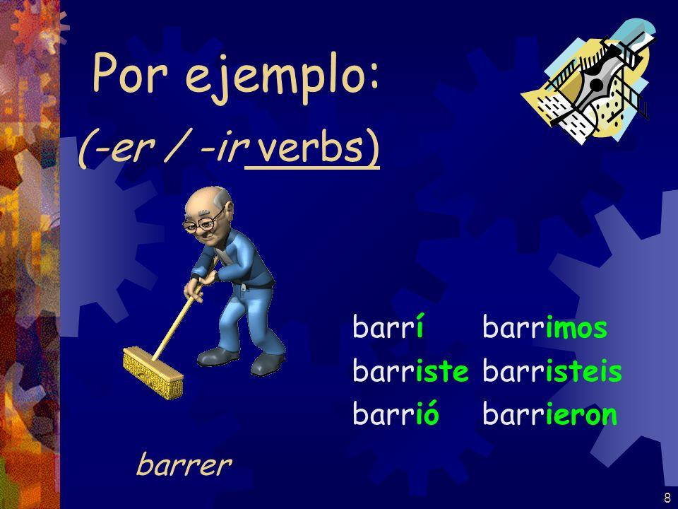8 (-er / -ir verbs) barrí barriste barrió barrimos barristeis barrieron Por ejemplo: barrer