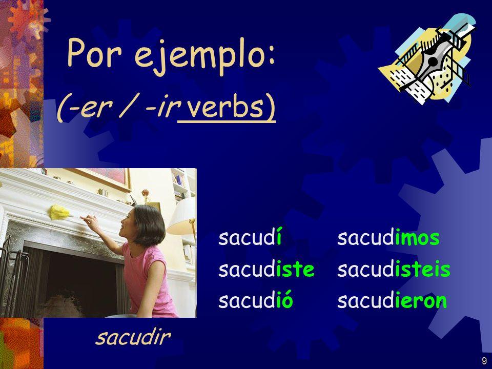 9 (-er / -ir verbs) sacudí sacudiste sacudió sacudimos sacudisteis sacudieron Por ejemplo: sacudir