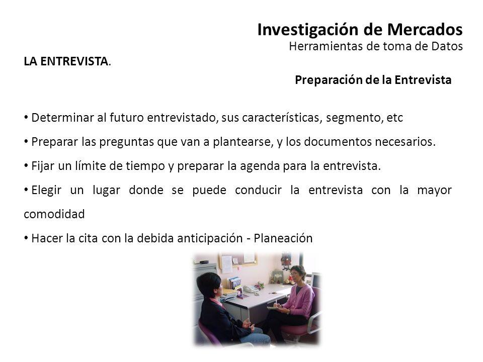 Investigación de Mercados Herramientas de toma de Datos LA ENTREVISTA. Preparación de la Entrevista Determinar al futuro entrevistado, sus característ