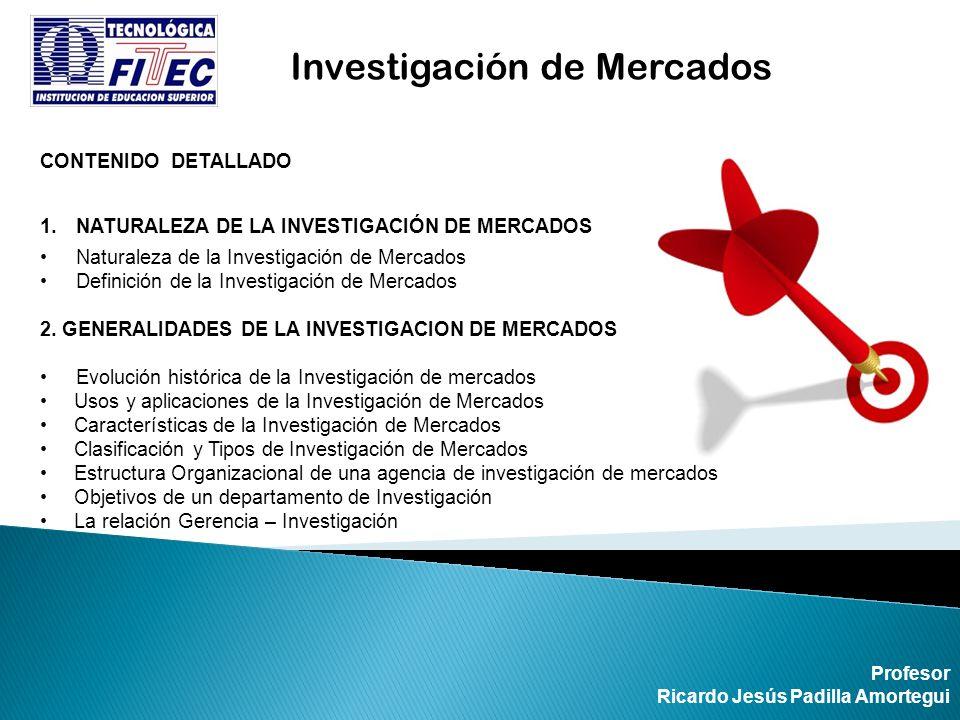 CONTENIDO DETALLADO 1.NATURALEZA DE LA INVESTIGACIÓN DE MERCADOS Naturaleza de la Investigación de Mercados Definición de la Investigación de Mercados