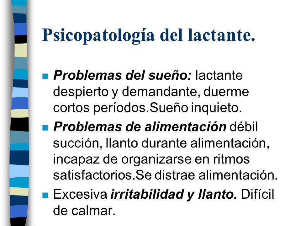 Psicopatología del lactante. n Problemas del sueño: lactante despierto y demandante, duerme cortos períodos.Sueño inquieto. n Problemas de alimentació